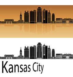 Kansas city v2 skyline in orange vector