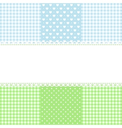 Lace border on fabric checked background vector image vector image