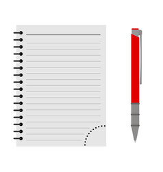 notebook with a red pen vector image