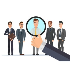 Recruitment hand zoom magnifying glass picking vector