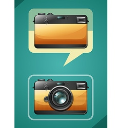 Retro camera design on green vector