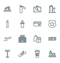 Set of 16 traveling icons includes plastic card vector