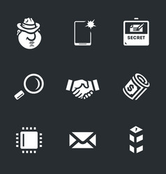 set of espionage icons vector image