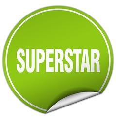 Superstar round green sticker isolated on white vector