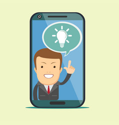Virtual assistant - businessman hi-tech flat vector