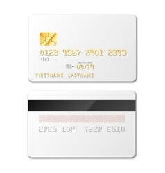 White blank credit card mockup on white vector image