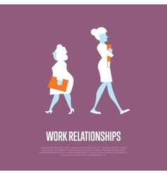 Work relationships banner with businesswomen vector image