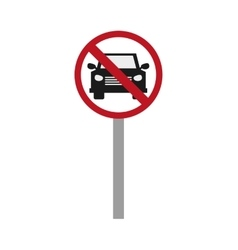Car restriction street sign icon vector