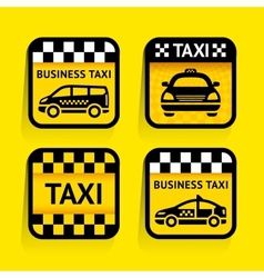 Taxi - set stickers square on the yellow vector image