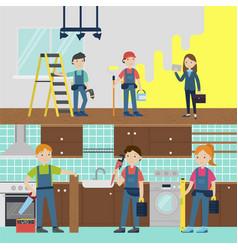 House improvement team horizontal banners vector