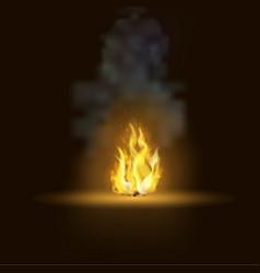realistic bonfire with smoke vector image