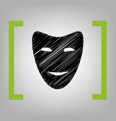 Comedy theatrical masks black scribble vector