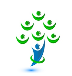 Teamwork group of people as a tree-logo vector image