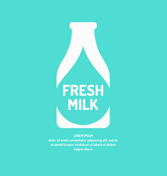 Poster fresh milk with the silhouette of the vector