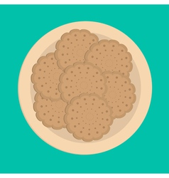 Biscuit cookie cracker on the plate vector