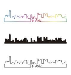 Tel Aviv skyline linear style with rainbow vector image