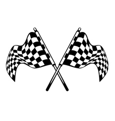 Waving crossed black and white checkered flags vector