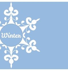 Winter background with abstract snowflake vector