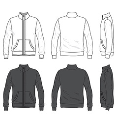 Front back and side views of blank jacket with vector