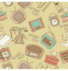 retro radios and telephones vector image