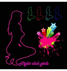 Woman silhouette night club girls vector