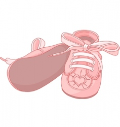 Pink baby shoes vector
