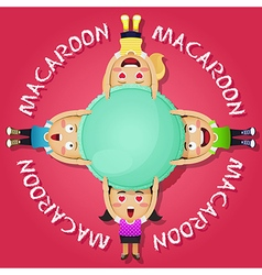 Happy people carrying big macaroon or macaron vector
