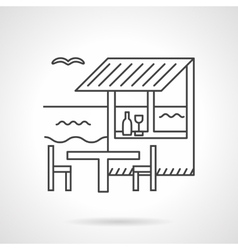 Beach bar flat line icon vector