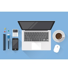Top view of creative office workspace vector