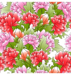 Seamless of a color peonies and green leafs vector