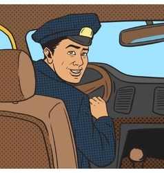 Taxi driver in taxi car pop art style vector