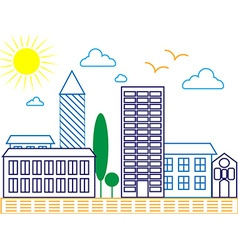 City skyline detailed silhouette Trendy line art vector image