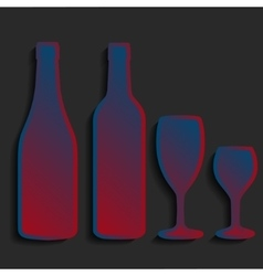 Wine bottle sign set bottle icon crockery vector