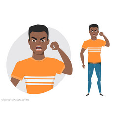 angry black african american men vector image vector image