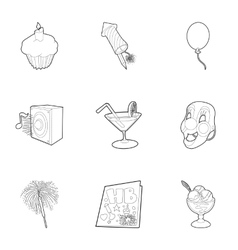 Birthday icons set outline style vector image vector image