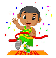 Boy ran to the finish line first vector