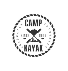 Camp kayak emblem design vector