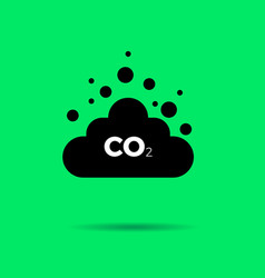 Co2 emissions icon cloud flat vector