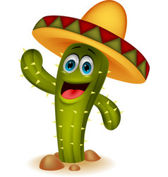 Cute cactus cartoon character vector image vector image