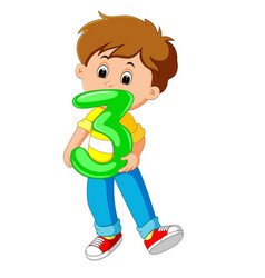 cute child holding balloon with number three vector image