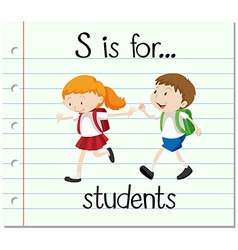 Flashcard letter s is for students vector