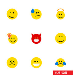 Flat icon gesture set of cold sweat grin cross vector