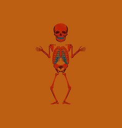 Flat shading style icon human skeleton vector