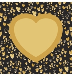 Gold heart with place for your text on seamless vector image vector image