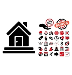 House Front Door Flat Icon with Bonus vector image