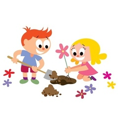Kids planting a flower vector