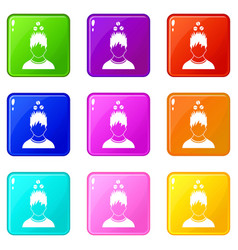 Man with tablets over head icons 9 set vector