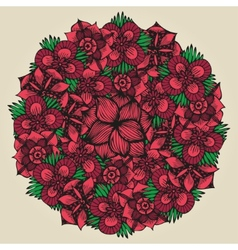 Round floral ornament like bouquet of red flowers vector image vector image