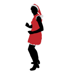 santa girl dancing vector image vector image