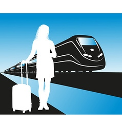 Silhouette of a Lady Waiting for a Train vector image